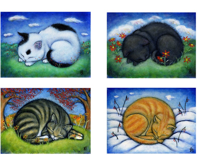 Set of 4 Cat art prints from paintings. The 4 Seasons.