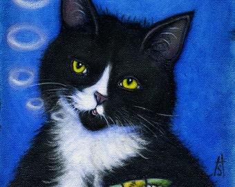 "Charlie's ""Bad"" Habit. Tuxedo cat smoking catnip cigar. Archival 8.5x11 print"