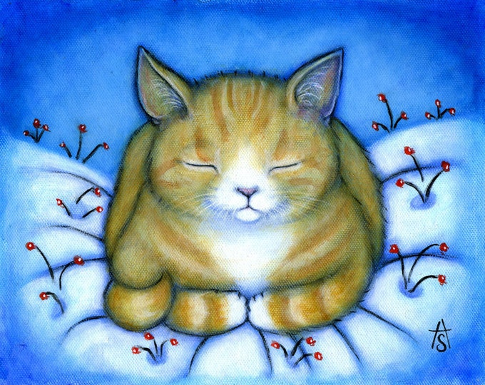Ginger Tabby Cat with Winter Berries.  Archival 8.5x11 print