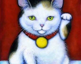 Tricolor Calico Maneki Neko.  Archival 8.5x11 tuxedo cat print