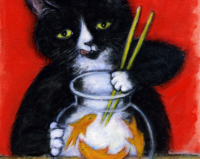 Featured listing image: Tuxedo Cat art print. Charlie's Sashimi Time