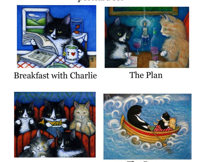 Adventures of Charlie II. Set of 4 postcards/ miniprints