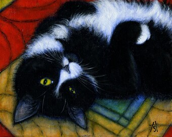 Charlie Winking.  Archival 8.5x11 tuxedo cat print