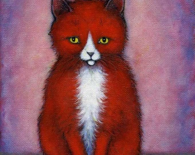 Tuxedo Cat art print. Red Tuxedo Cat