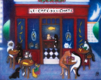 Le Cafe des Chats. Heidi Shaulis cat cafe 8 x 10 print