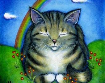 Tabby Cat at Rainbow Bridge.  Archival 8.5x11 print