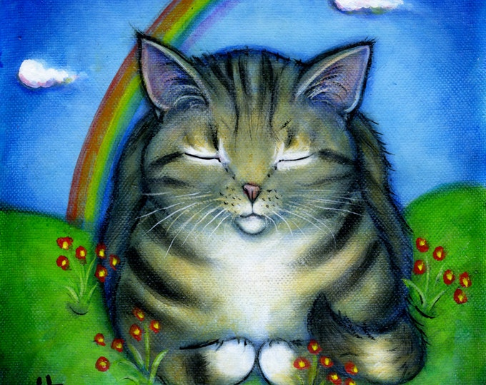 Tabby Cat at Rainbow Bridge.  Archival 8.5x11 print