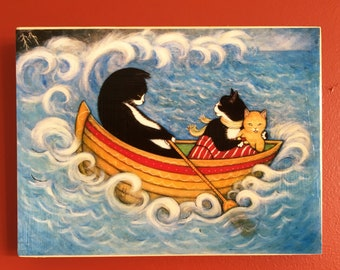 Ready to Hang Tuxedo and Tabby Cat Print The Rescue. Mounted on wood panel. Free shipping