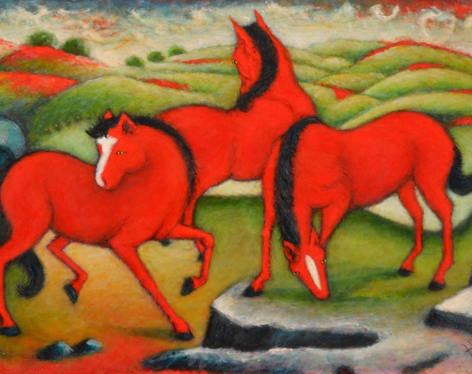 The Red Horses. Heidi Shaulis original oil painting