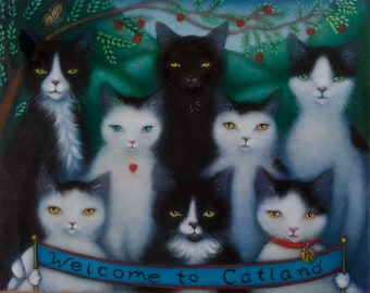 The Welcoming Committee.  Original oil painting of 8 Black & White Cats at the entrance to Catland