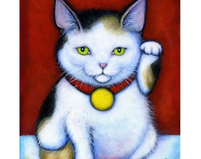 Calico Maneki Neko.  Cat Art  8 x 10 print