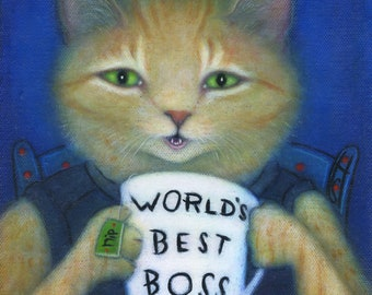 World's Best Boss.  8 x 10 buff ginger tabby cat print