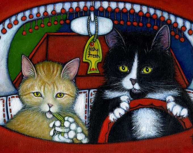 Tuxedo and Tabby cat art print. Charlie's Pet Peeve