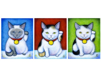 3 Maneki Nekos.  Archival 11x14 print of 3 Lucky Cats in a Row