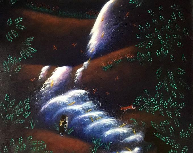 Kaaterskill Falls. Original Heidi Shaulis oil painting of Charlie the tuxedo cat at a waterfall