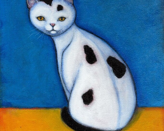 Black and White Cat art print. Spotted Cat