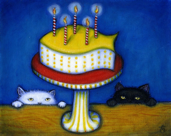 Nothing says Happy Birthday like Fishy Cake. 8x10 cat print