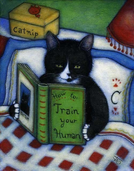 How to Train your Human.  Charlie tuxedo cat 8 x 10 print