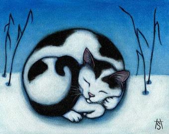 Cat winter cards. Peace. Set of 5