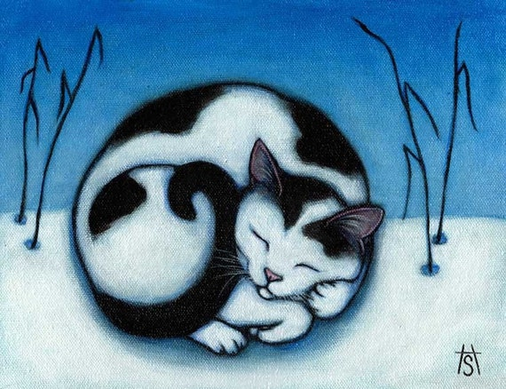 Cat winter cards. Peace. Set of 5