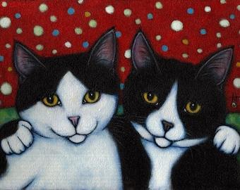 Tuxedo Cat art print. Best Friends