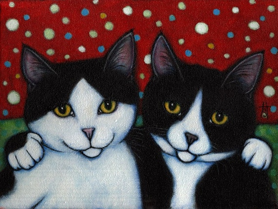 Tuxedo Cat art print. Best Friends