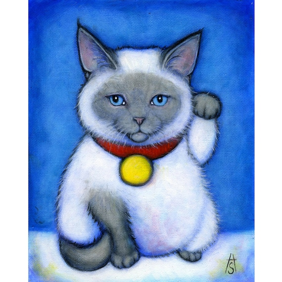 Siamese Maneki Neko.  Cat Art  8 x 10 print
