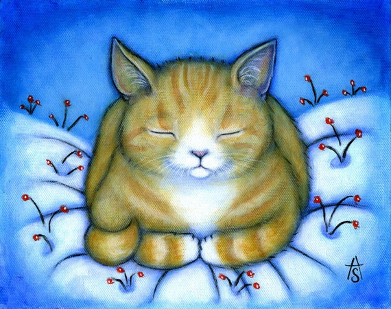 Ginger Tabby Cat in the Snow Christmas/Winter Holiday Cards. Set of 5