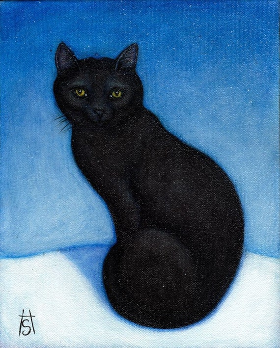 Black Cat in the Snow. 8 x 10 print