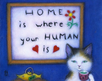 Calico Cat cards. Home is where your Human is. Set of 5