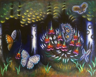 Butterfly Forest.  Original Heidi Shaulis oil painting