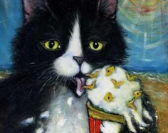 Tuxedo Cat art print. Charlie's Fishies 'n Cream