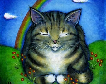 Tabby Cat at Rainbow Bridge original oil painting
