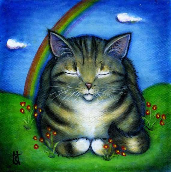 Tabby Cat at Rainbow Bridge original oil painting
