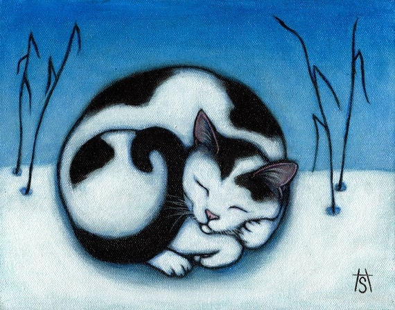 Black and White cat print from original painting. Peace.