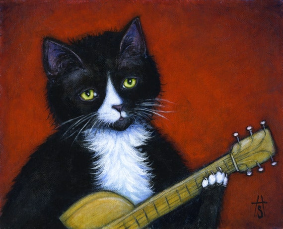 Tuxedo Cat art print. Charlie in Acoustic Cat