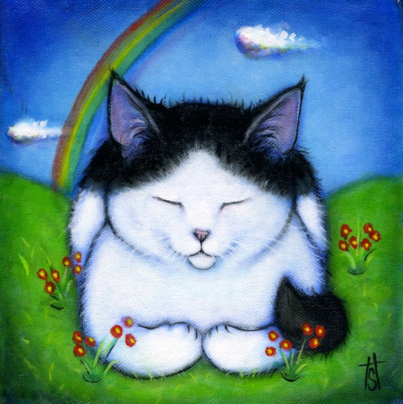 Your cat at Rainbow Bridge: Commission an original memorial 8x8 oil painting