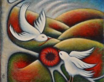 Original bird oil painting.  The Nest Builders
