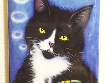 Catnip Cigar 2x3 Tuxedo Cat Refrigerator Magnet