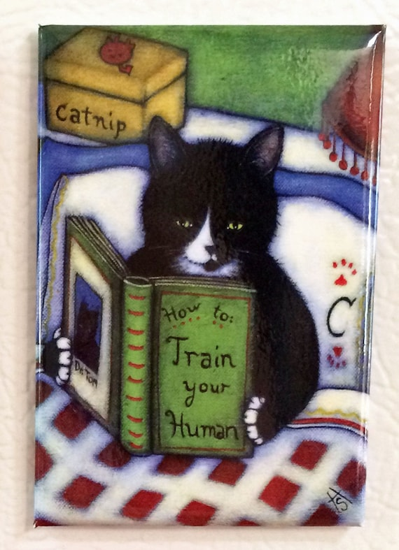 How to Train your Human 2x3 Tuxedo Cat Refrigerator Magnet