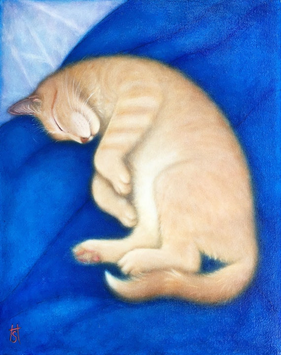 Ginger Tabby Cat original oil painting. Willy