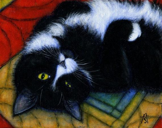 Tuxedo cat cards. Charlie Winking. Set of 5