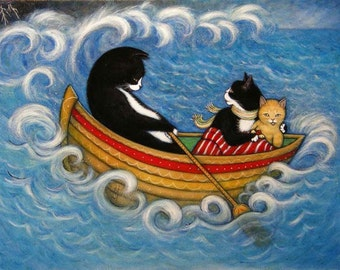 Tuxedo Cat Cards.  The Rescue. Set of 5