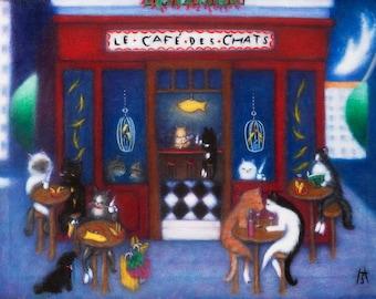 Le Cafe des Chats. Cat Cafe notecards, Set of 5