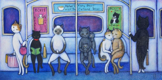 The C Train. Original Heidi Shaulis oil painting of Charlie and cats riding the subway