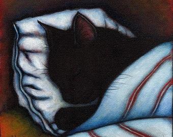 Black Cat print from original painting. Black Cat Takes a Nap