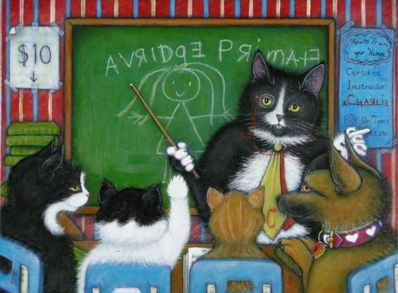 Continuing Education.  8 x 10 Charlie tuxedo cat print