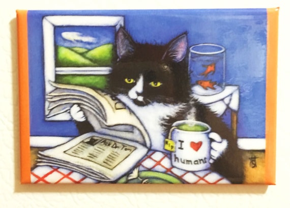 Breakfast with Charlie 2x3 Tuxedo Cat Refrigerator Magnet