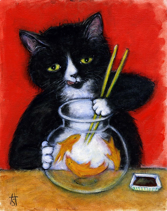 Tuxedo Cat art print. Charlie's Sashimi Time