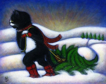 Tuxedo Cat Christmas cards. Charlie's Christmas Tree Set of 5